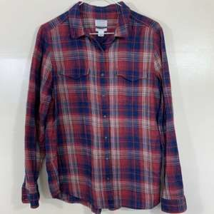 Caslon Red Blue Plaid Flannel Button Down Shirt